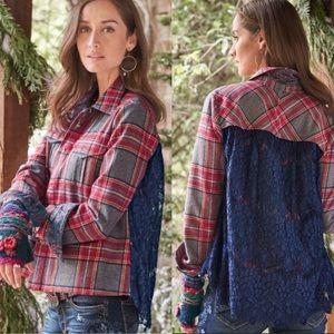 Sundance • NWOT Lace Back Plaid Wool Button Down